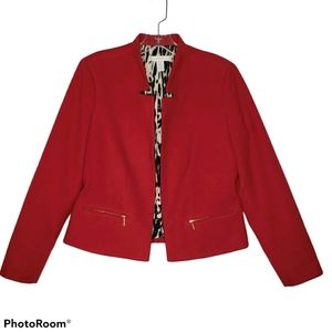Chico's Red Open Front Lined Jacket 0 S